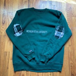 Michigan State crewneck with elbow patches